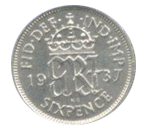 A silver sixpence from 1937