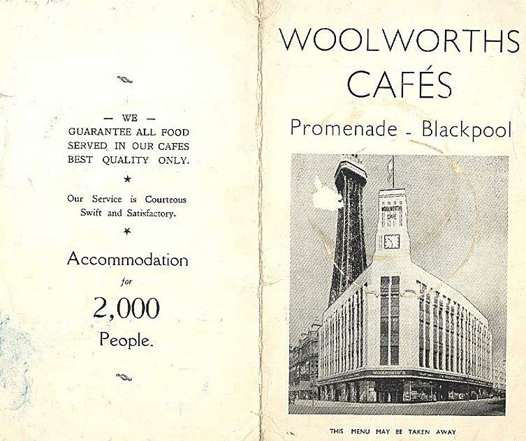 Front cover of the wartime menu at the F. W. Woolworth restaurant in Blackpool, September 22nd 1941. (With special thanks to Mrs Sybil Preece)