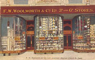 The first British Woolworths, at 25 to 25a Church Street, Liverpool. With very special thanks to Mr. Scott Oakford.