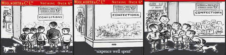 Sixpence well spent, a Woolworth's cartoon from the 1920s
