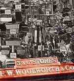 A Woolworths window display of tinwares from the 1920s