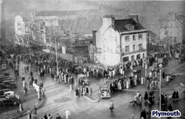 8,000 people lined the streets of Plymouth for the re-opening of Woolworths, which had been destroyed by enemy action in 1942, and was finally reinstated in November 1950