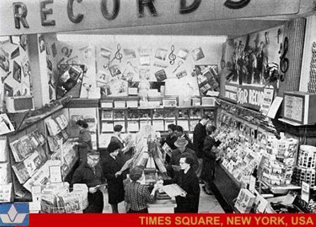Upscale entertainment offer at the F. W. Woolworth Co. branch in Times Square, New York in the mid 1960s.