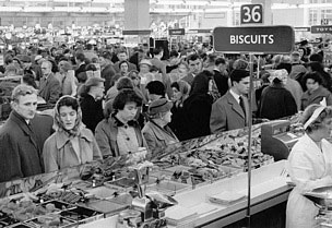 Weigh-out biscuits were very popular at Woolworth from the 1920s until the early 1980s. The picture shows the selection in the flagship Scottish store in Princes Street, Edinburgh at Christmas, 1959.