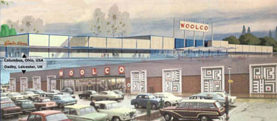The first Woolco stores in the USA and UK. Top: Columbus, Ohio, USA and bottom Oadby, Leicester, England