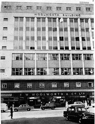 One of several large Woolworth stores in the City of Birmingham, England in the early 1960s.  The site was redeveloped in partnership with a leading construction company, with Woolworth retaining the freehold and subletting all of the offices in the tower above it.
