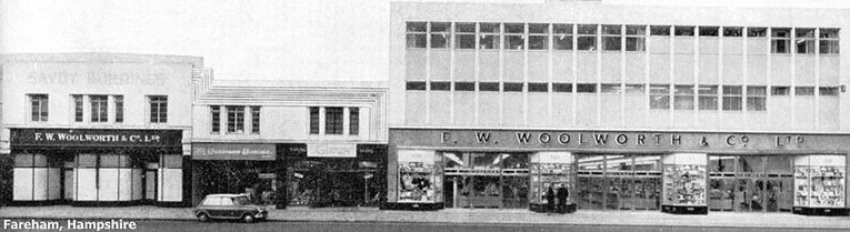 While the US Woolworths were relocating stores into shopping centres, the British company preferred to move into larger more modern premises next door to the old store, as shown here in Fareham, Hampshire in May 1965.
