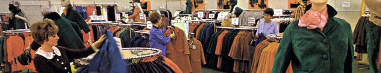 The fashion department in Woolco, Oadby, Leicestershire in 1967