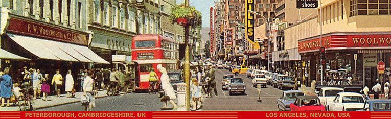 Two Woolworths 3,000 miles apart - on the left hand side of the street Peterborough in Cambridgeshire, England and on the right Los Angeles, Nevada, USA, both pictured in the early 1960s.
