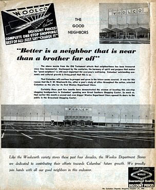 The first advertisement for Woolco - announcing the store in Columbus, Ohio - which appeared in The Columbus Dispatch Magazine on October 14th, 1962.  Click for a full size version