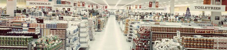 Bold displays of groceries in one of the first Woolco food halls in 1967.  The layout would not look out of place in a 21st Century supermarket, fifty years later.