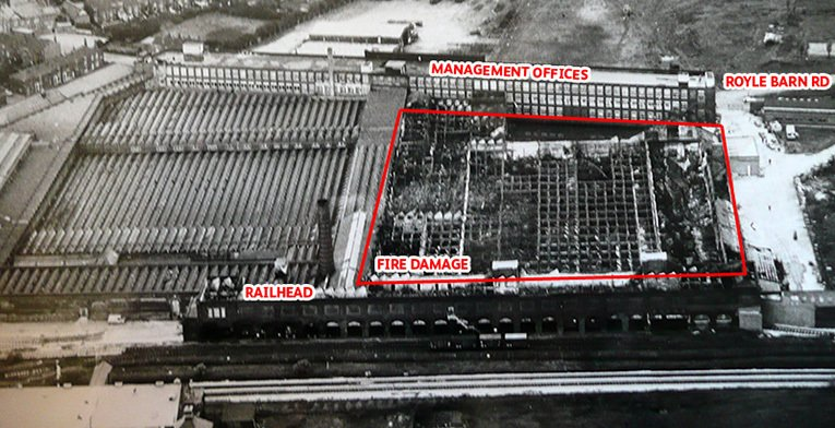 An aerial view of the damage to the F.W. Woolworth Warehouse in Castleton, Rochdale after the 1971 fire