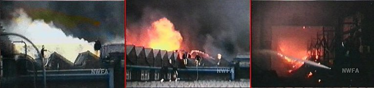 The Woolworth Castleton depot on fire in 1971. Pictures with special thanks to the North West Film Archive (NWFA)
