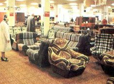 Foam filled furniture on display in a Woolworth store in 1979