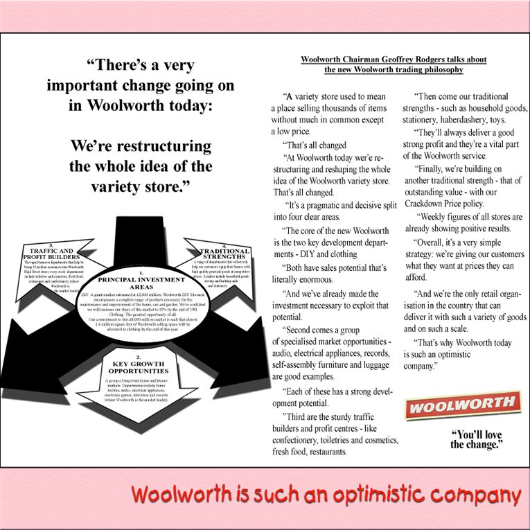 The original Woolworth strategy for the 1980s, by Company Chairman Geoffrey Rogers. This was prepared in 1979 as the Board negotiated to buy the DIY retailer B&Q and released at the beginning of the new decade, once the acquistion was complete.