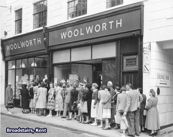 A large queue greeted the opening of Woolworths in the British South Coast resort of Broadstairs on 18 July 1952