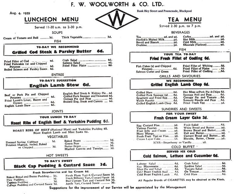 Pre War Restaurant Menu 4 Aug 1939