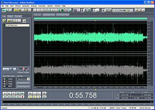 Applying an audio filter to a digital transcription from a 78rpm record, using Adobe Audition.
