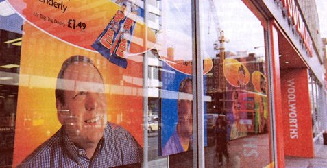 Long-serving Woolworths stalwart John Farrow - the brains behind many successful store refurbishments - was among a group of managers who featured in celebrity roles on window posters for Fathers' Day (2000)