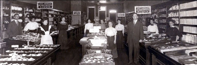The team of Charles Sumner Woolworth's store in Glen Falls, USA - pictured in 1911 (Image with thanks to his great grandson, Mr Scott Oakford)