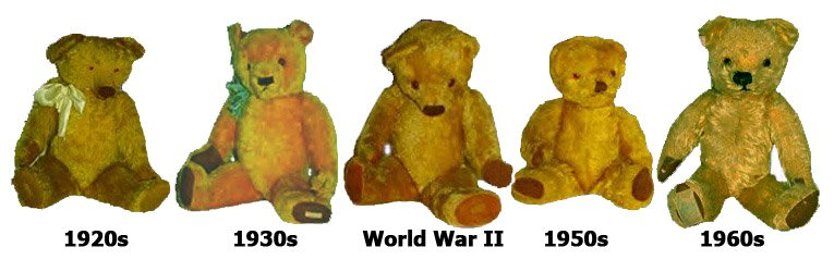 The changing style, but consistent quality, of Chad Valley teddies over five decades (1920s-1960s)