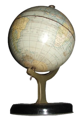 A Chad Valley diecast globe from 1939 - by appointment to Her Majesty the Queen - shows the changing the political scene in Europe, with an englarged Germany following the Anchluss and different borders for Italy too