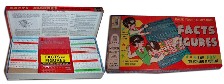 Co-branded Milton Bradley and Chad Valley, the Facts and Figures game was one of the last products to be marketed under the name that was made in Britain.  It was firmly pitched at Chad Valley's up-market clientele.