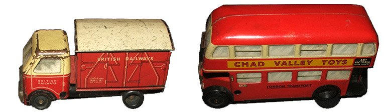 Diecast Chad Valley vehicles from the early Fifties - both the Routemaster Bus and the British Railways lorry had been given a makeover