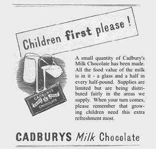 Save your chocolate ration for the children - a wartime plea to the public from Cadbury's