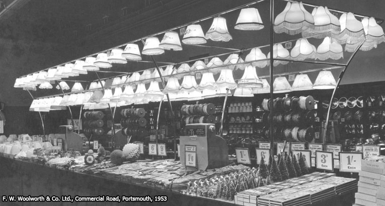 A bold display of Christmas Decorations in the F. W. Woolworth store in Portsmouth, Hampshire, UK in 1953