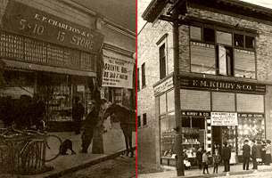 E.P. Charlton's Five and Ten Cent Store in San Jose and F. M. Kirby's store in Houghton, Michigan
