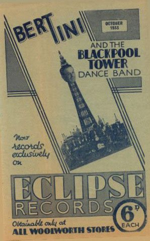 The Crystallate Gramophone Record Company produced leaflets promoting the latest titles on their Eclipse Records label. The brochures were handed out in F.W. Woolworth stores across Great Britain and Ireland.