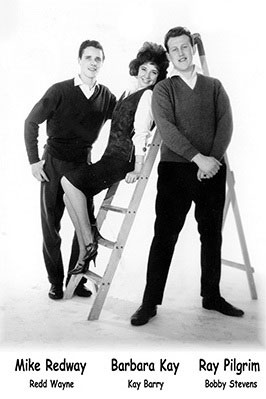 Three of the stars of the Embassy Label, pictured in 1961. Left to right Mike Redway/Redd Wayne, Barbara Kay/Kay Barry and Ray Pilgrim/Bobby Stevens. Image with special thanks to Ray Pilgrim