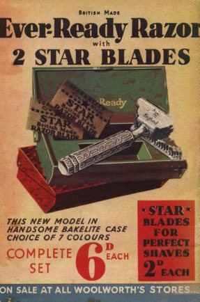 The back to cover of Woolworths' Good Things To Know Magazine, featuring an advertisement for one of the firm's best selling lines, an Ever-Ready Razor complete with two Star blazed, in handsome bakelite in a choice of seven colours - all for sixpence (2½p)