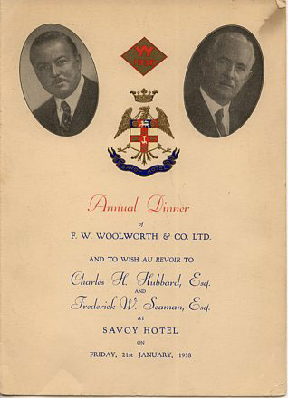 Commemorative Programme from the Annual Dinner celebrating the retirement of Charles H. Hubbard, Managing Director of the British Woolworths in January 1938.