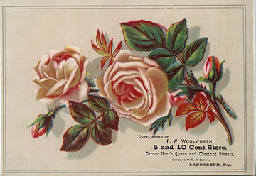 A rare extravagance from the parsimonious dimestore magnate, Frank W. Woolworth - a full colour trade card, promoting his flagship Five and Ten Cent Store in Lancaster, Pennsylvania, USA, dating from about 1880.