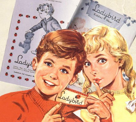 "One of the most famous of the Ladybird advertising graphics features two children ""checking the label"""