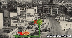 Lewisham High Street in 1944, scarred by a V1 attack which destroyed the Marks and Spencer store while the neighbouring Woolworths survived with superficial damage only