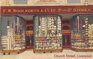 The first British Woolworths store, which opened in Church Street, Liverpool on 5 Nov 1909. (Image with thanks to Mr Scott Oakford)