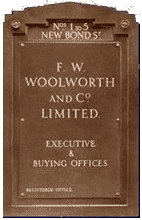 The nameplate from the Woolworth headquarters building in London's fashionable New Bond Street, Mayfair