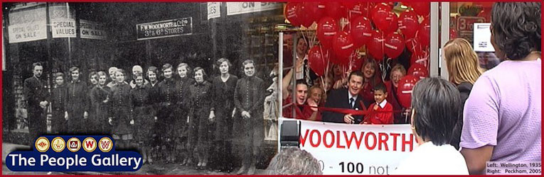 The People Gallery in the Woolworths Museum, celebrating a century of careers at Woolworths (left: Wellington, Shropshire, 1915, right Peckham, South East London, 2005