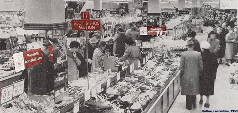 The Golden Jubilee sale in action at the Bolton, Lancashire store.  In an integrated campaign, signs in-store linked to the advertising on television and to the press advertisements published by Woolworth
