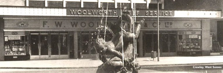 Queen's Square Crawley, the largest self-service Woolworth store of the 1950s.  The branch had been relocated from smaller premises in the High Street to reflect the fact the rapidly expanding population locally after Crawley was designated a 'new town' by the British Government.