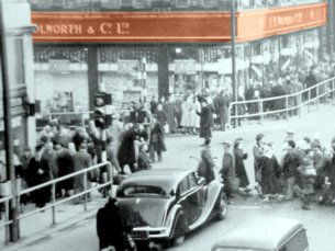 Woolworth in Bolton, Lancashire - pictured at the time of the Golden Jubilee sale in 1959