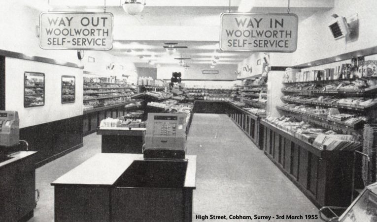 The first self-service Woolworths in the UK.  Cobham, Surrey on opening day, 3 March 1955