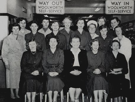 The Manageress and colleagues who pioneered self-service for Woolworths at the Cobham, Surrey store in Spring 1955