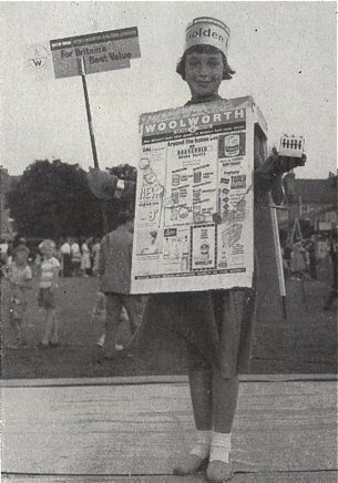 A walking advertisement for the Woolworth Golden Jubilee sale in 1959 by Miss June Smith, daughter of National Cash Register's representative to the company