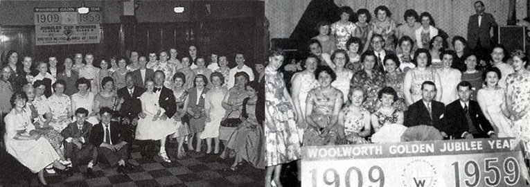 Woolworth staff celebrate the company's 50th birthday in 1959. Each store threw its own party for the team, with extra to spend if they had achieved their targets in the sales competition.