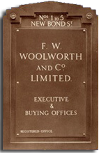 "Nameplate from F.W. Woolworth & Co's Head Office (""EO"") in London.  The Mayfair address was the firm's home for thirty years from 1929 to 1959"