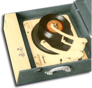 A portable record player from the 1950s